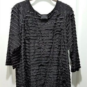 Brittany Black Semi-Sheer Ruffled Blouse 1X